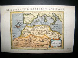 Bertius 1616 Antique Hand Col Map. Barbaria. Barbary, North Africa, Sicily Spain